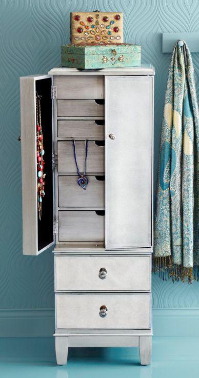 Hayworth Mirrored Silver Jewelry Armoire Organizadores Muebles