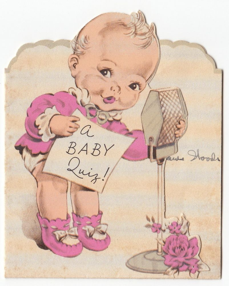 Vintage Greeting Card Baby Birth Announcement 1930s Radio Microphone