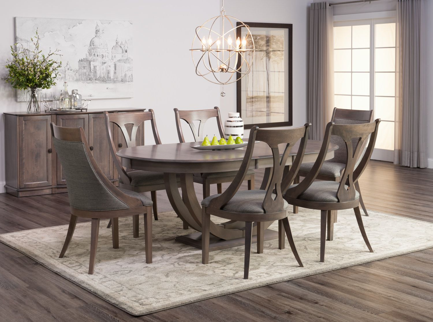 Simonne Oval Dining Table With 4 Sling Chairs And 2 Host Chairs Oval Table Dining Dining Table Hom Furniture
