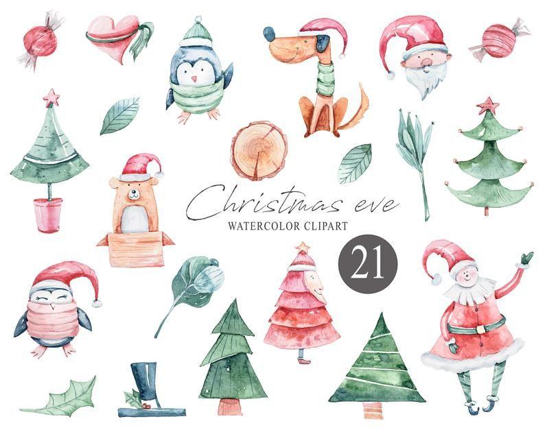 Christmas Clipart Watercolor Santa Png Christmas Tree Etsy In 2020 Christmas Clipart Christmas Tree Clipart Christmas Watercolor