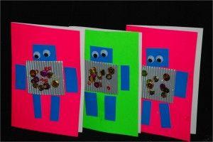 Kids Get Crafty Robot Cards The Robot The Blue Bird Kid