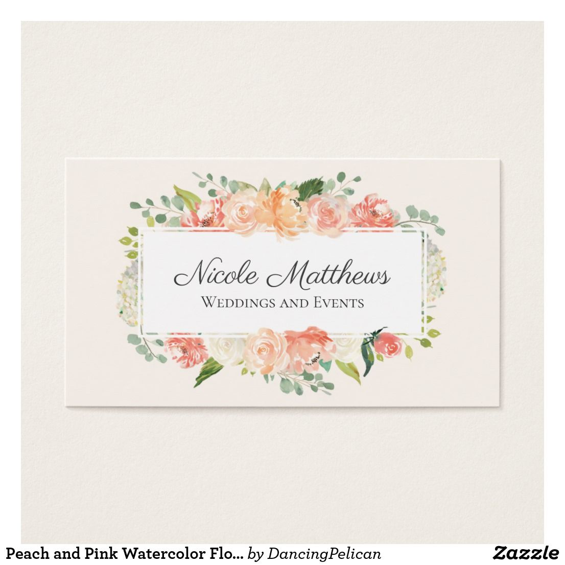 Peach and Pink Watercolor Floral Business Card | Bathroom Mirror ...