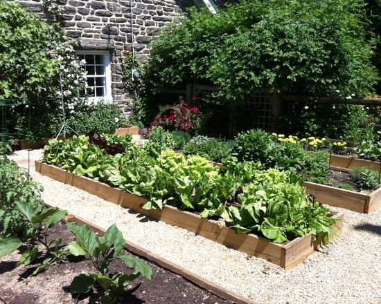 Veggie Planter Boxes to Makes Beautiful Backyard Designs: Captivating Veggie Planter Boxes With Stone Wall White Window Frames White Gravel ~ jsdpn.com Landscaping Inspiration