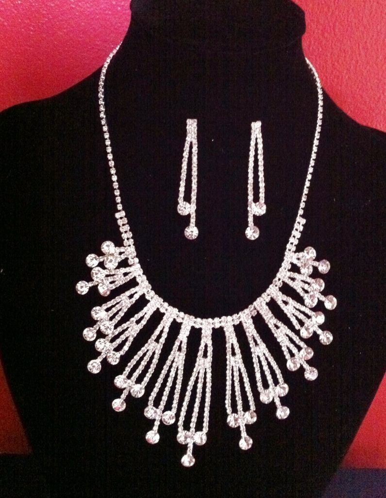 BRIDAL PROM NEW NECKLACE EARRINGS CRYSTALS WEDDING SET COLLIER MARRIAGE BOUCLE