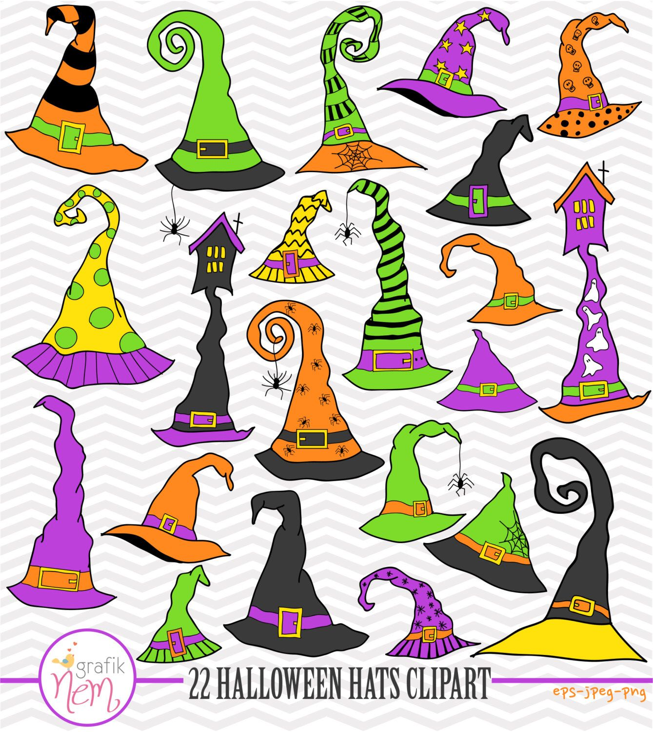Excited to share the latest addition to my #etsy shop: Halloween Hats 22 Clipart Commercial use, Digital Clipart, Vector Graphics - NEM176