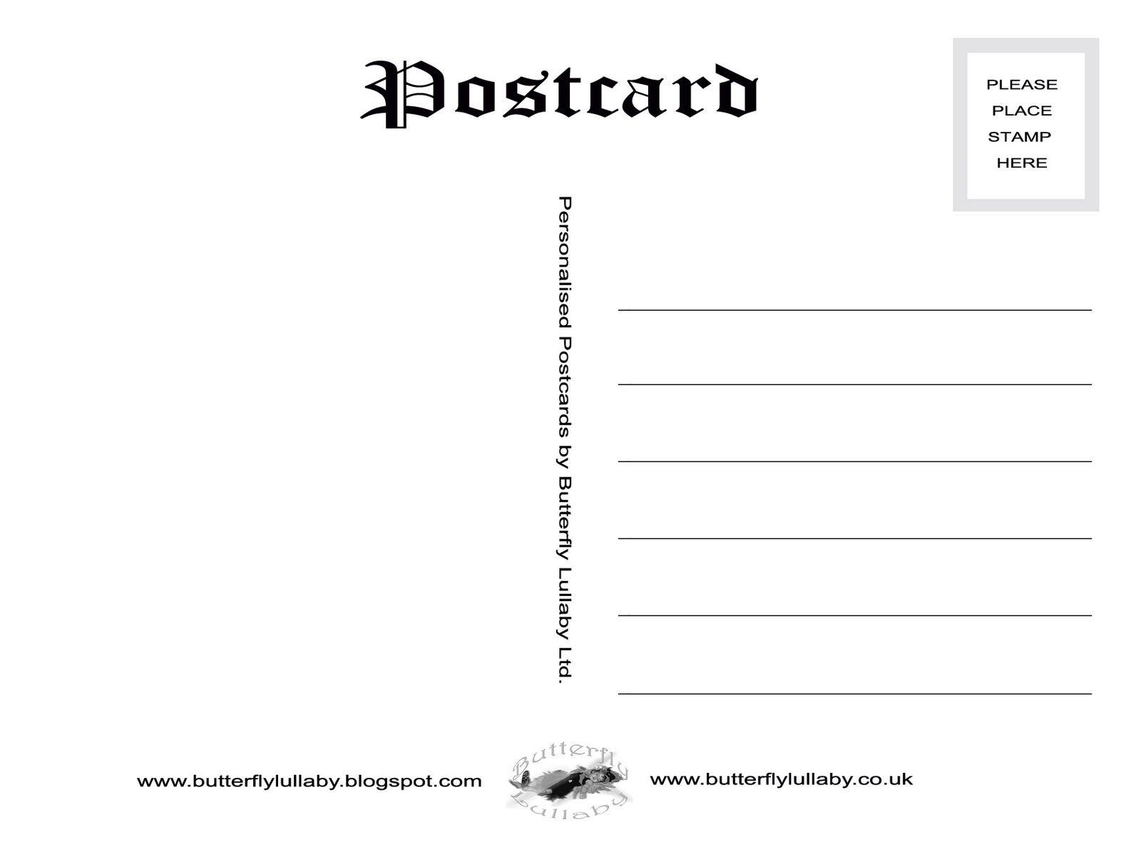 Free Vintage Postcard Templates | Free Postcard Back Template ...