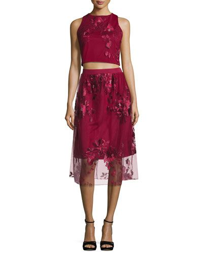 Two-Piece Embroidered Social Skirt Set, Plum