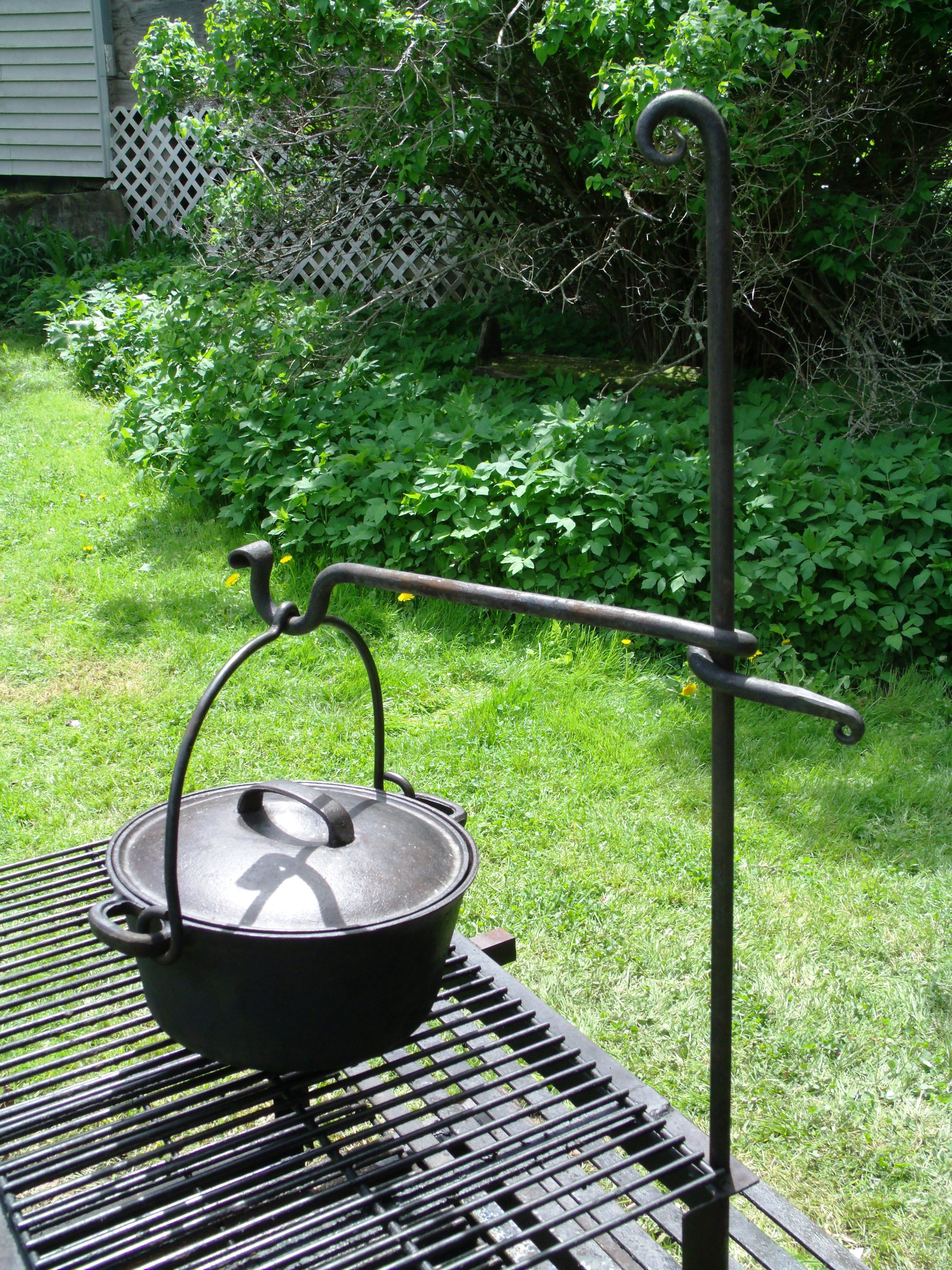 outdoor cooking swinging arm cast iron pot hanger furnace brook