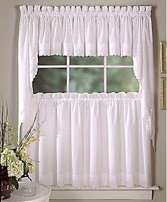 New Ribbon Floral Eyelet Kitchen Curtains White Or Ecru Ebay