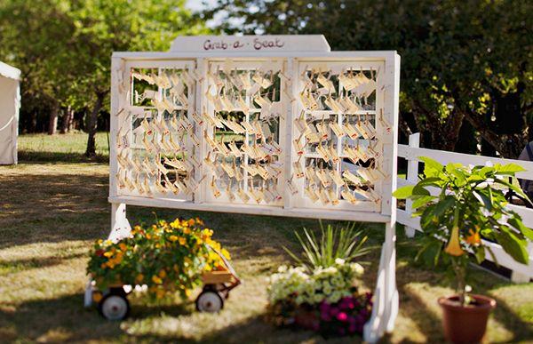 Windowpane Escort Card Display Clothespinned Cards Clothespin DIY Wedding