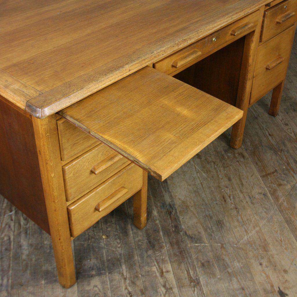 Large Vintage Oak School Teachers Desk - Large Vintage Oak School Teachers Desk Solid Oak, Desks And Drawers