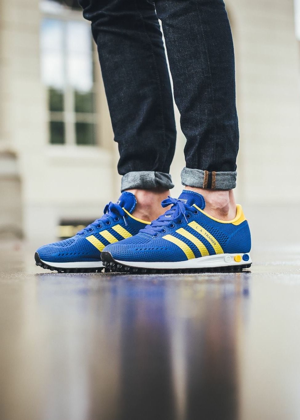 sports shoes 9115b b9da9 adidas Originals LA Trainer Engineered Mesh  Blue Yellow