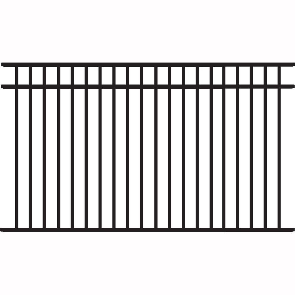 Tuffbilt Natural Reflections Heavy Duty 4 1 2 Ft H X 8 Ft W Black Aluminum Pre Assembled Fence Panel 73008981 The Home Depot In 2020 Metal Fence Panels Fence Panels Aluminum Fence