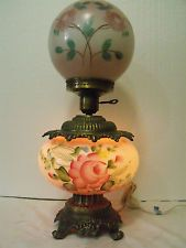 Vintage GWTW Parlor Lamp  Roses Hurricane Chimney HedCo. (41460-14-)