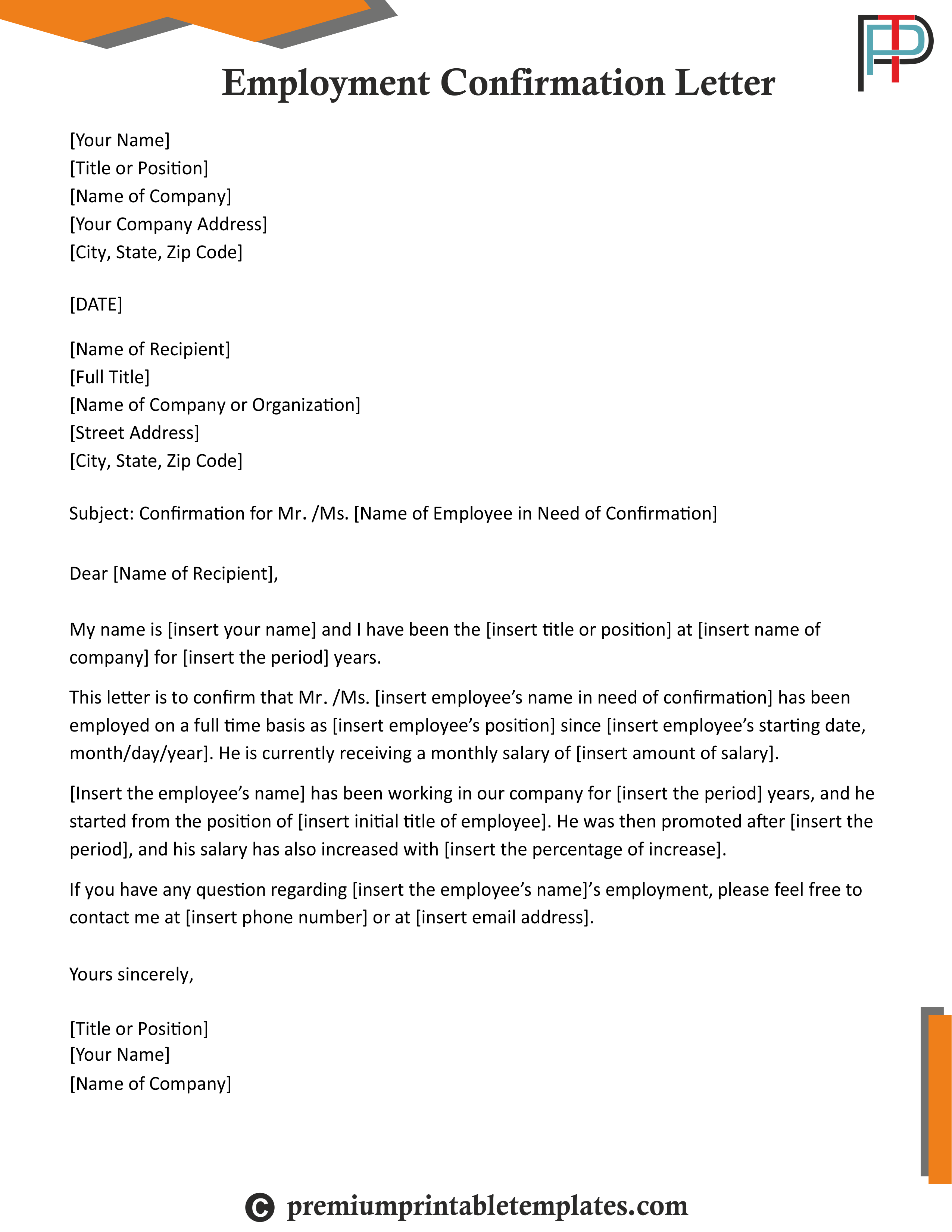 Employment Confirmation Letter Editable & PDF