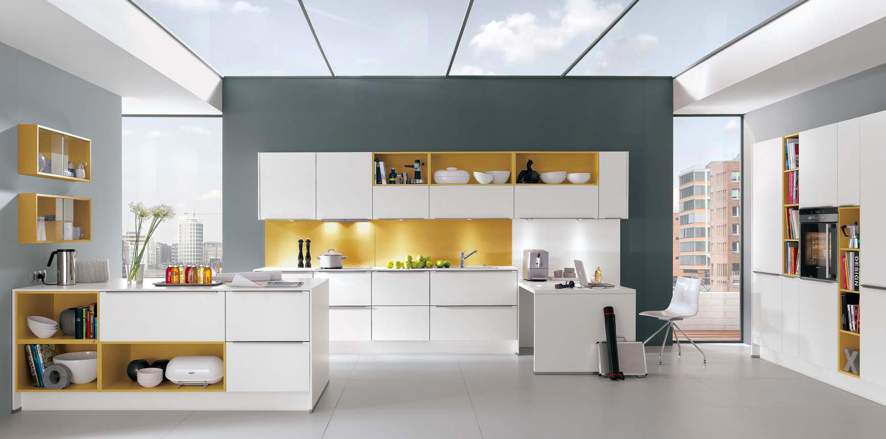 White kitchen on grey wall, with melon highlights