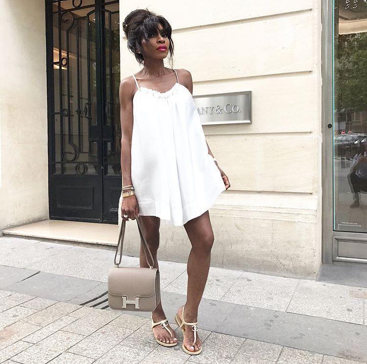 a45d1fabce3793 asilio dress  revolve  Chanel sandals  Hermes Constance 24 etoupe ...