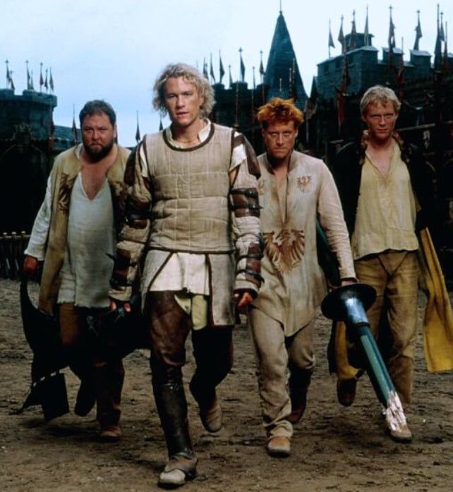 Robert Baratheon, Wash from Firefly and Avengers Vision helping the Joker to become a Knight... Epic Movie!