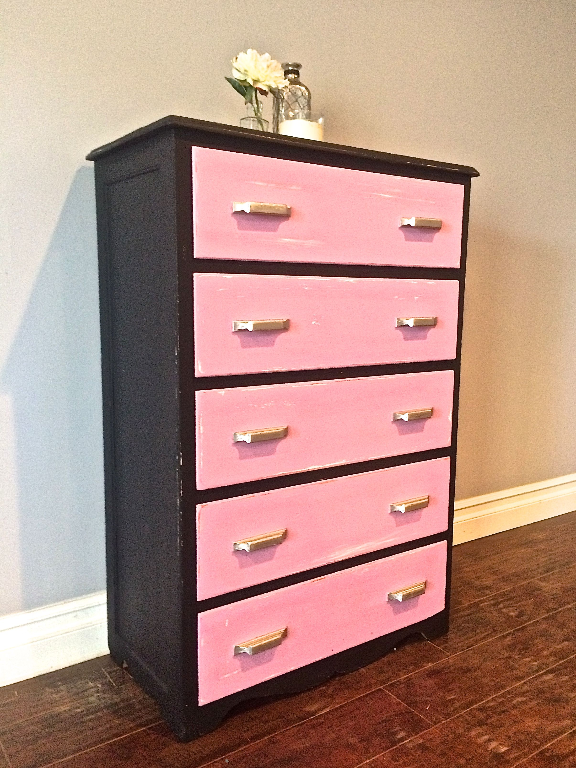 Best Shabby Chic Pink Black Silver Children S Highboy 400 x 300