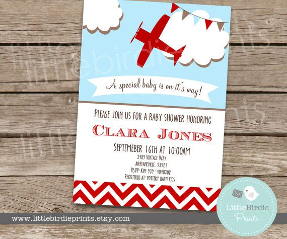 Good AIRPLANE Baby Shower Invitation Chevron Vintage Style Itu0027s A Boy Planes  Printable