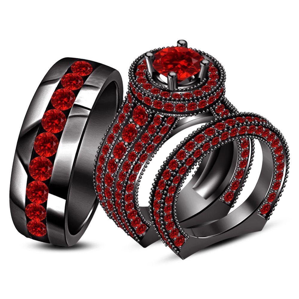 Black Gold Fn 2 75 Ct Red Garnet Trio Engagement Wedding Ring Set