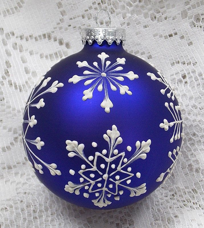 Dark Blue Hand Painted White Mud Texture Snowflakes Design With 309 Painted Christmas Ornaments Christmas Ornaments Christmas Ornament Crafts