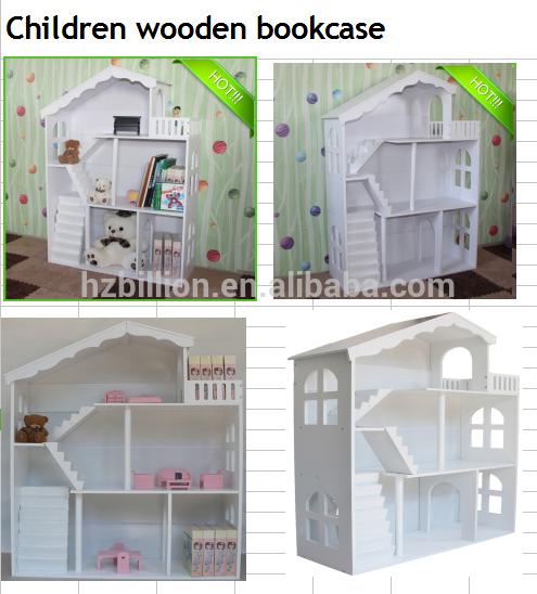 Deluxe Wit houten poppenhuis Opslag Boekenkast Kinderen Pop meubels