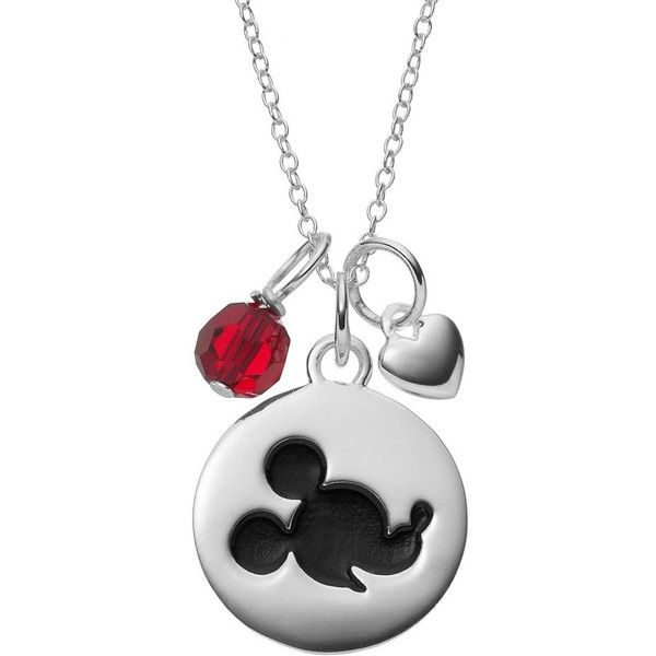 Disney's Mickey Mouse Sterling Silver Charm Pendant Necklace ($60) ❤ liked on Polyvore featuring jewelry, red, mickey mouse pendant necklace, disc pendant necklace, disney charms, heart pendant and red heart pendant