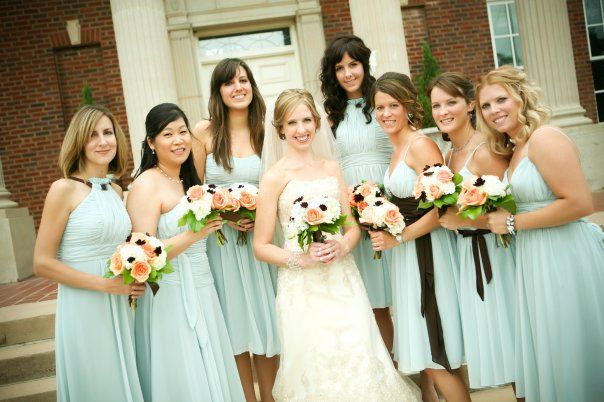 For The Bridesmaids... Tiffany Blue Chiffon Dresses With