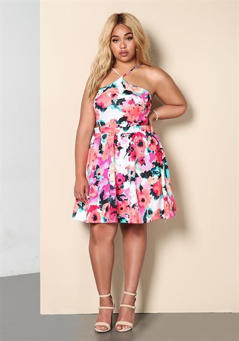Plus Size Floral Flared Cut Out Dress | plus size model | Pinterest ...