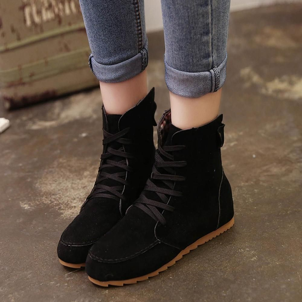 new arrivals speical offer new photos Flat Ankle Motorcycle Boots Female Suede Leather | Casual boots ...
