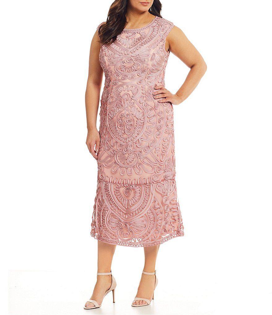 JS Collections Plus Size Soutache Lace Midi Dress ...