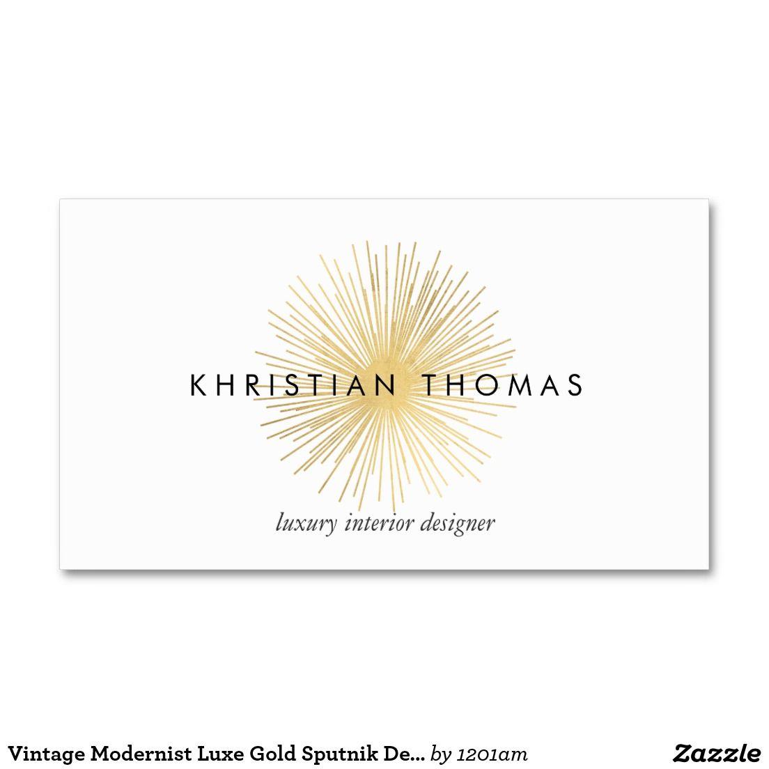 Vintage Modernist Luxe Gold Sputnik Business Card for Interior ...