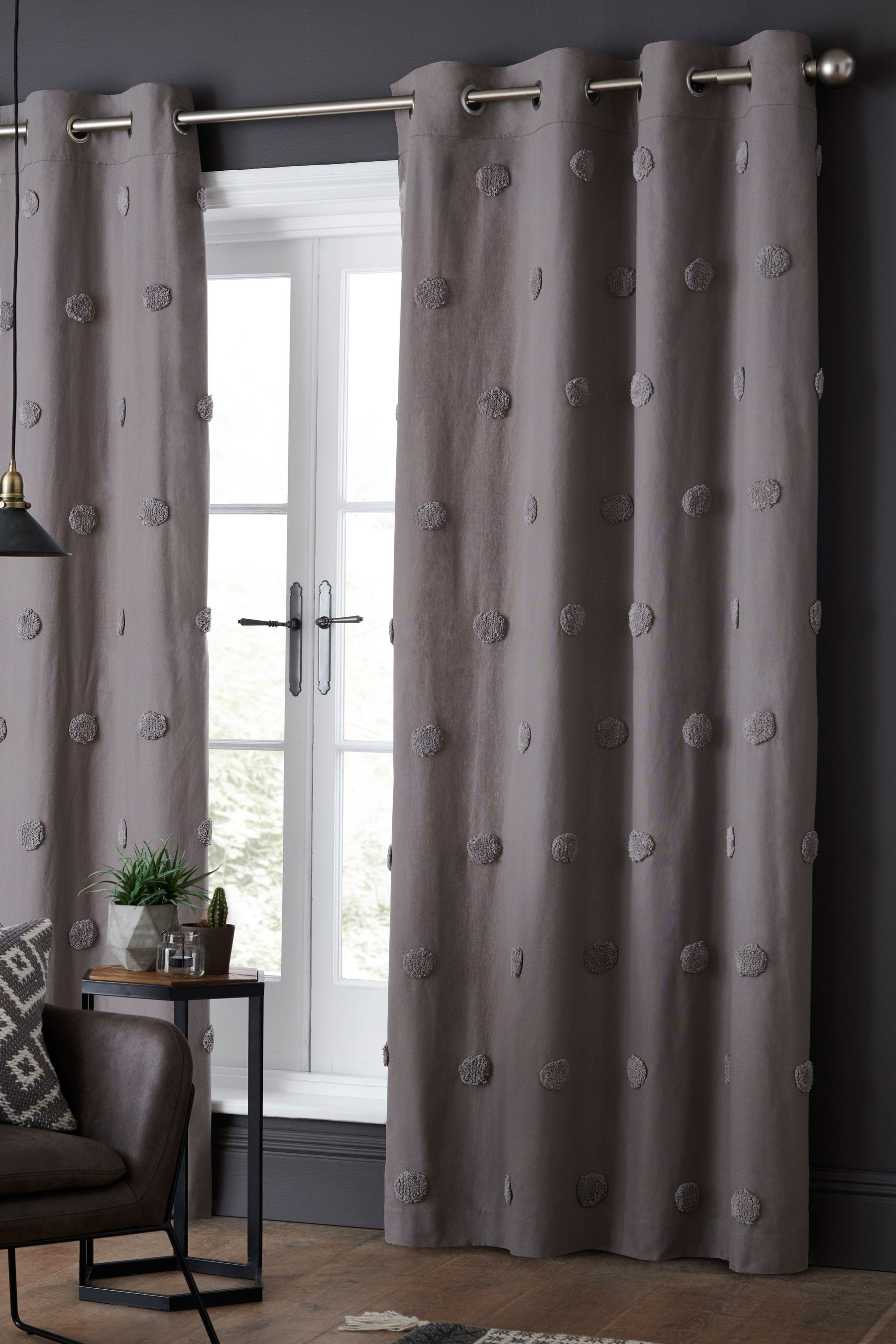 Tufted Pom Pom Eyelet Curtains In 2020 Curtains Grey Curtains Home Curtains