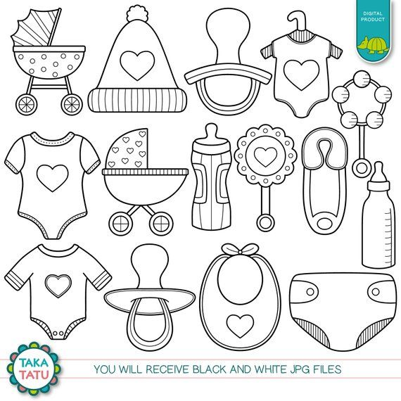 Baby Shower Digital Stamp Pack Black And White Clipart Etsy Baby Clip Art Digital Stamps Baby Shower Clipart