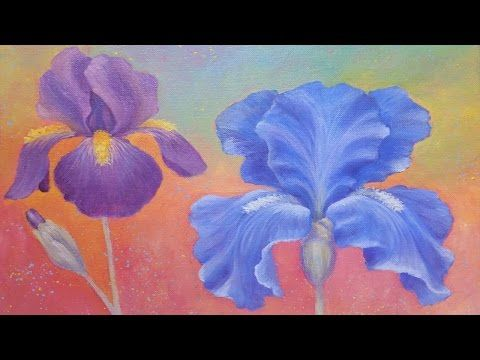 Iris Flower Acrylic Painting Instruction How To Paint Irises