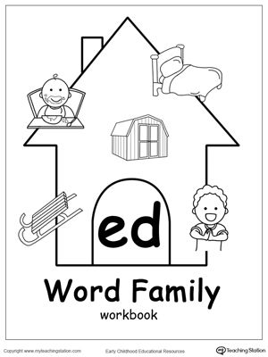 ED Word Family Workbook for Kindergarten | Writing, Word families ...