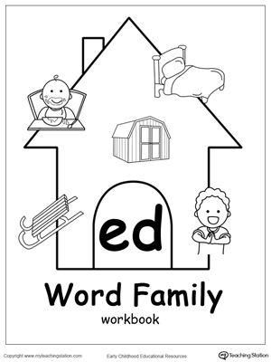 Ed Word Family Workbook For Kindergarten Word Family Worksheets Word Families Word Family Activities