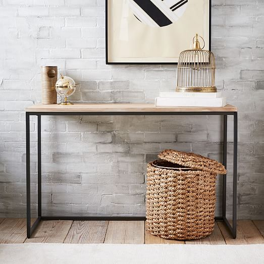 Box Frame Console Table Wood West Elm 350 This Could Be Used As A Desk Or A Dining Table For Two Modern Console Tables Home Decor Narrow Console Table