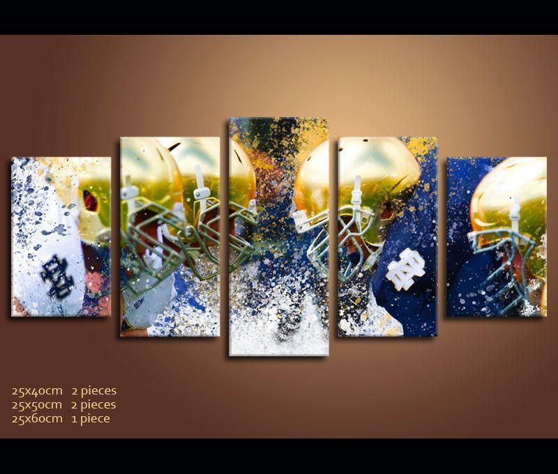 5 Pieces Canvas Art IRISH Notre Dame Fighting Football Prints Wall ...