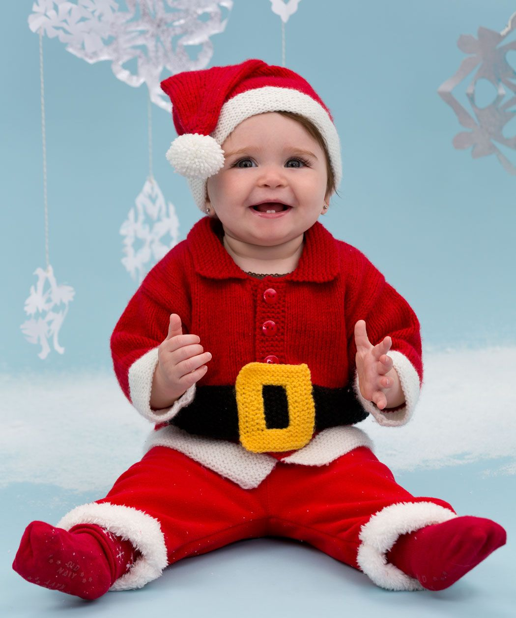 Santa baby suit free knitting pattern annegeddes redheart make the holidays even more fun with this adorable free knit baby santa suit the free knitting pattern includes a jacket hat pants and belt bankloansurffo Images