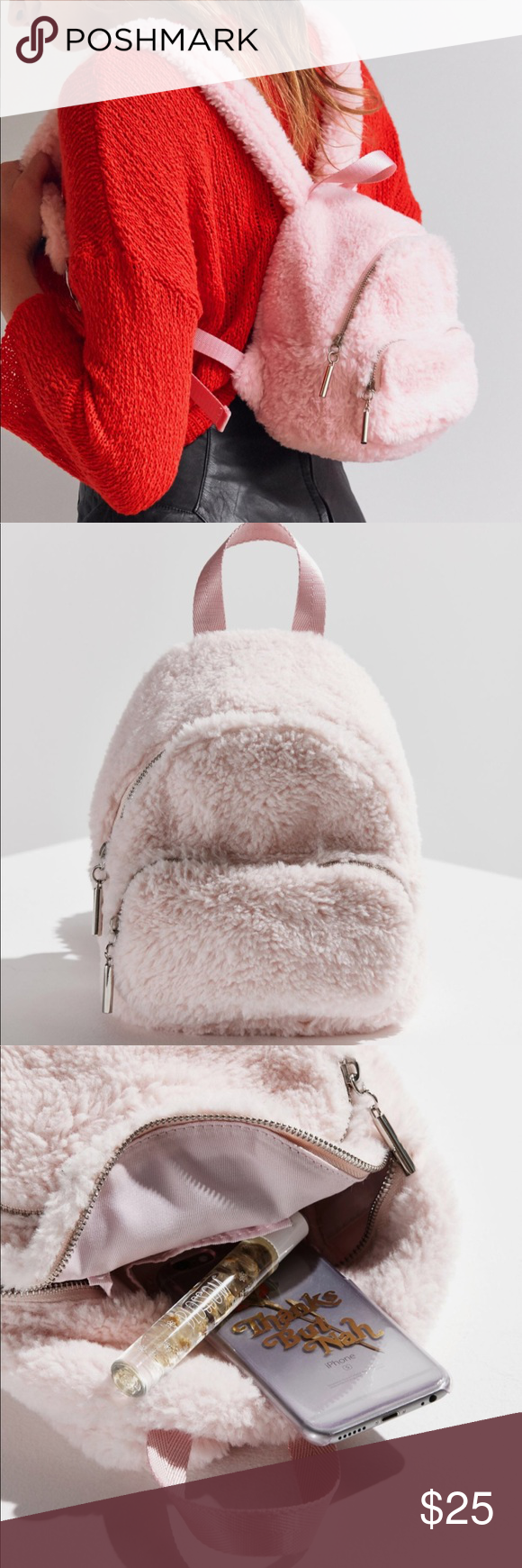 5ebcdb7478ca Fluffy Pink Mini BackPack - Urban Outfitters Fluffy Pink Mini Backpack  bought at Urban Backpack. Channel your inner Cher from Clueless with this  faux fur ...