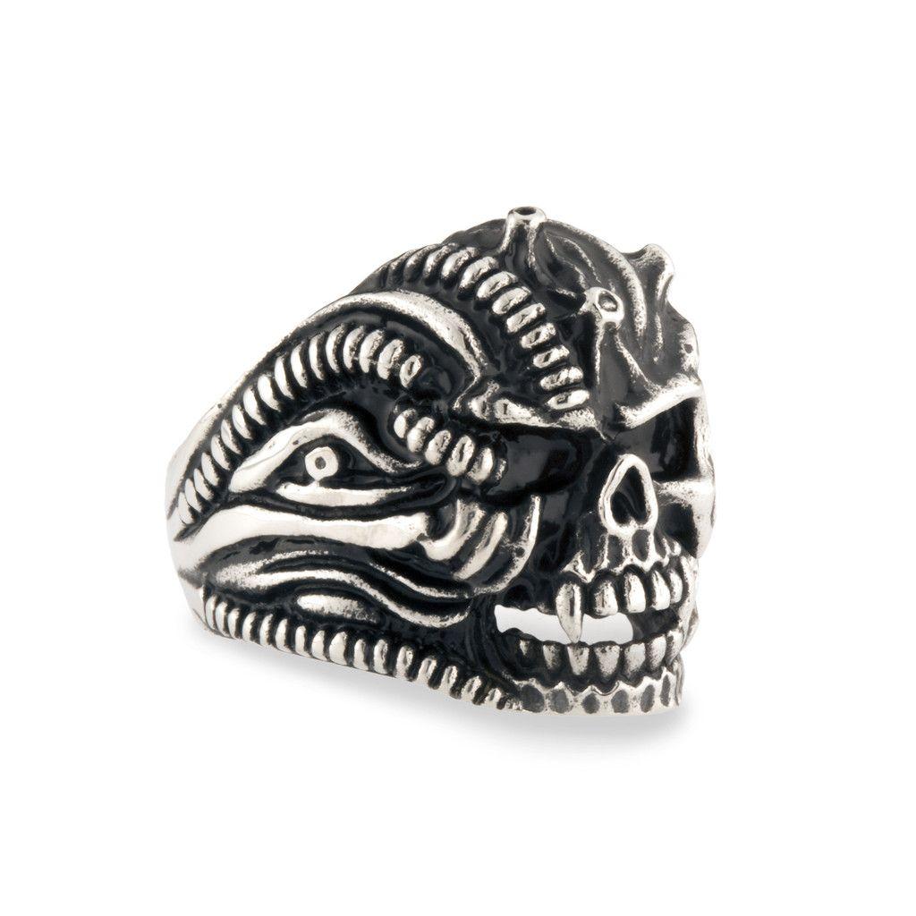 Men's Stainless Steel Vampire Skull Biker Ring