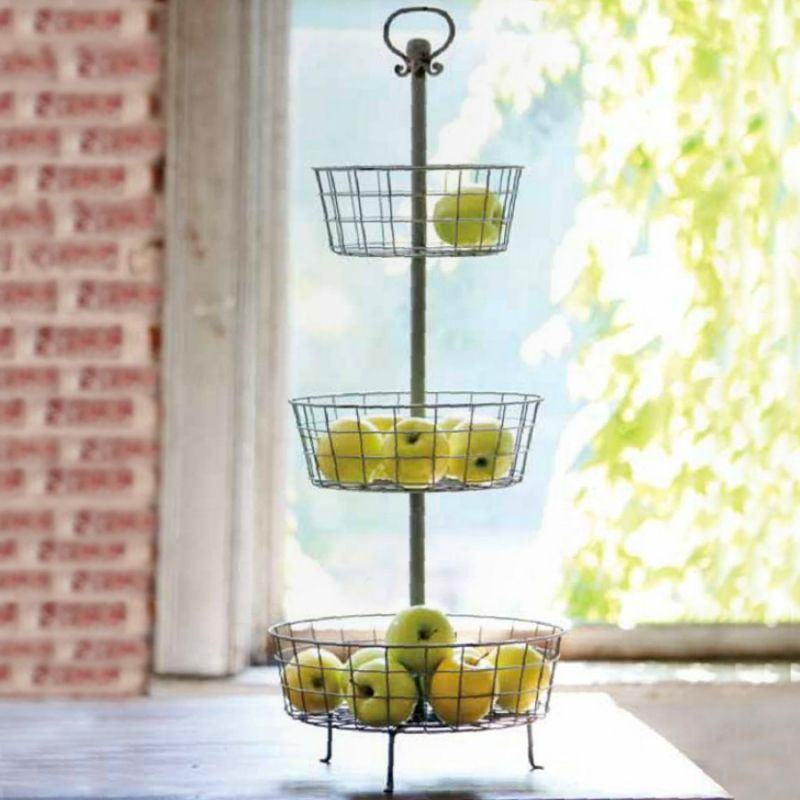 Distressed 3 Tier Basket Stand Middleton Mercantile / Farmhouse Favorites  Perfect For Your Farmhouse Seasonal Decorating Or Kitchen / Pantry Storage.