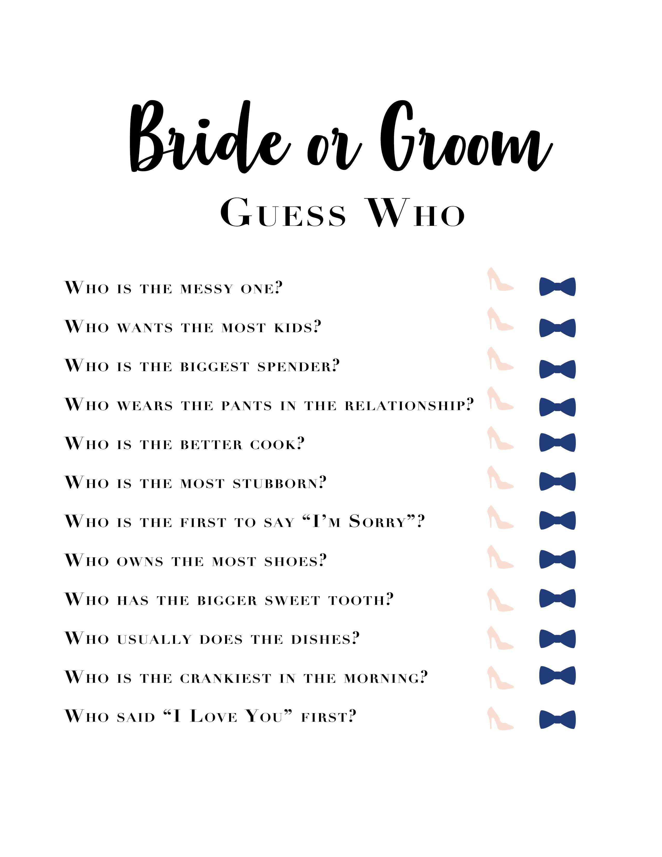 Bride and Groom Guess Who game Bridal Shower games or