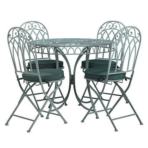 Buy John Lewis Vichy 4 Seater Dining Set, Pale Silver Sage Online at