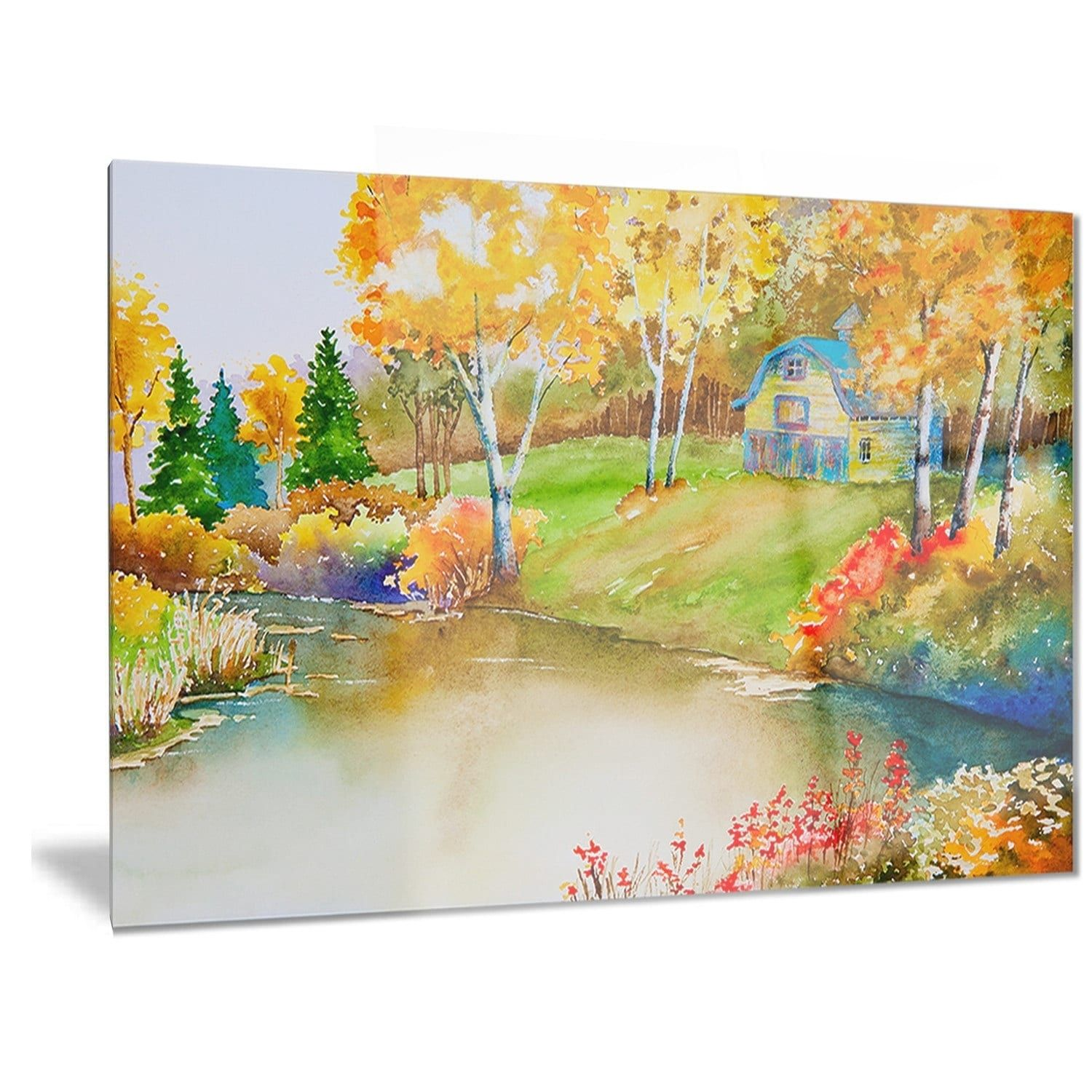 Designart \'House and Quiet Pond in Fall\' Landscape Metal Wall Art ...