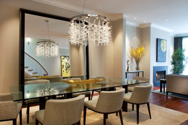 Delightful Stylish Dining Room Décor   Large Mirror As Focal Point Along With Modern  Chandelier Nice Look