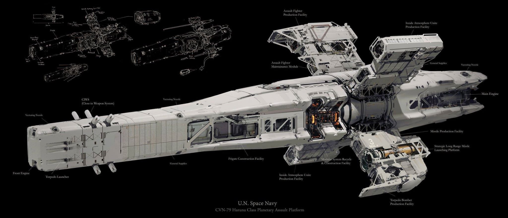 U.N. Space Navy Haruna Class Assault Platform by