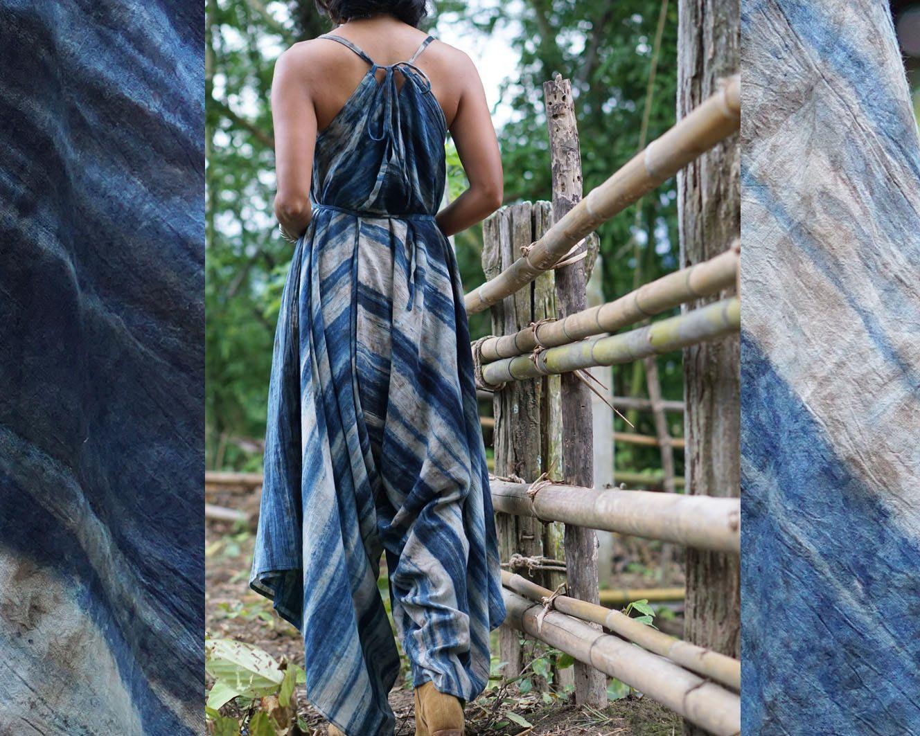 hand dyed jumpsuit harem jumpsuit blue drape dress Shibori